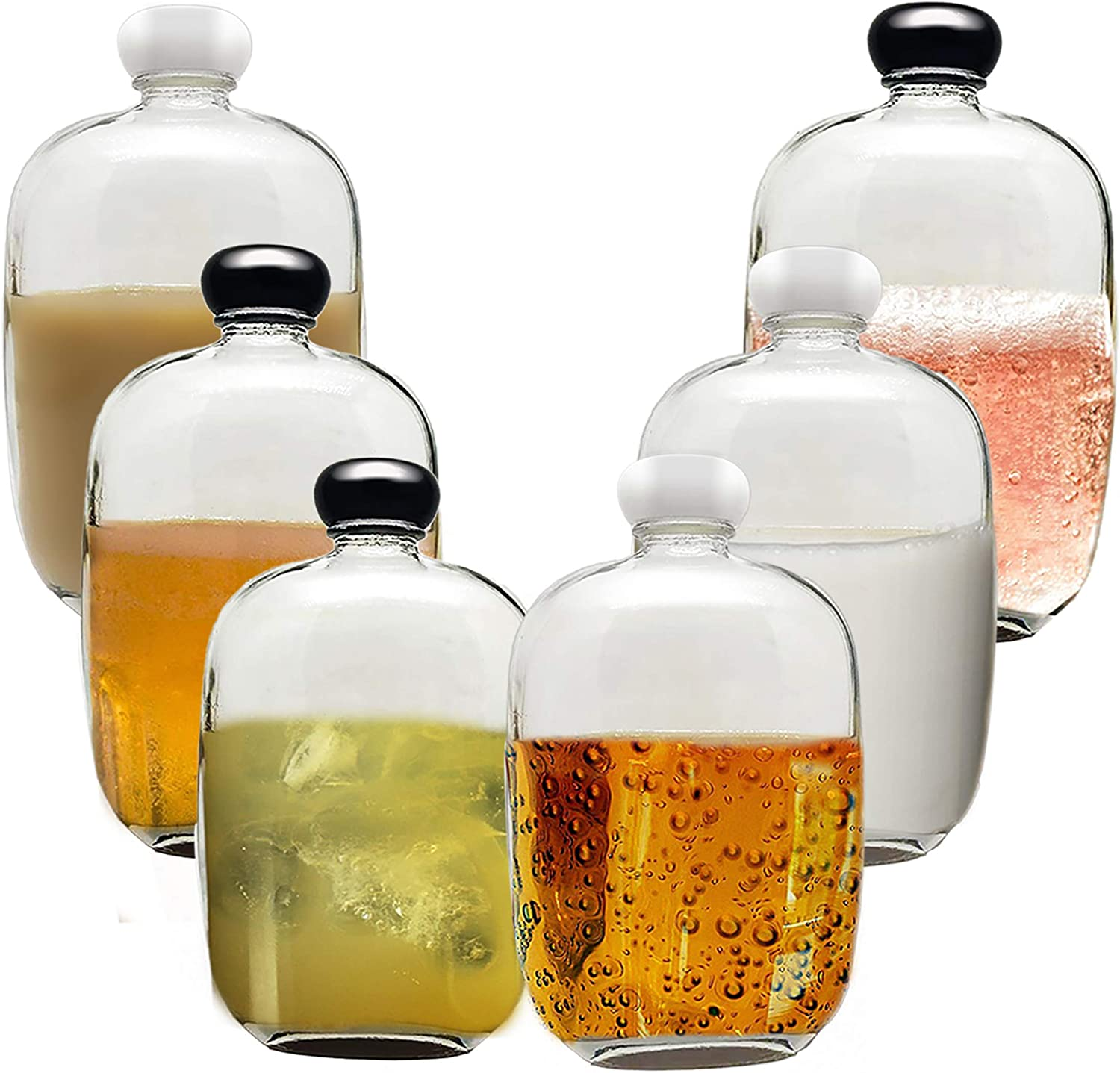 6 Packs Small Juice Mini Glass Flask Liquor Wine Bottles for Beer Milk Beverage Perfume Oil Sauce Whiskey Soda Liquid Storage Honey Drink Containers with Leak Proof Cap (100ML/3.38OZ, Clear Glass)