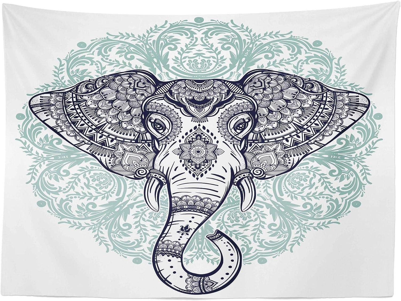 ABAKUHAUS Mandala Elefante Tapiz de Pared y Cubrecama Suave ...