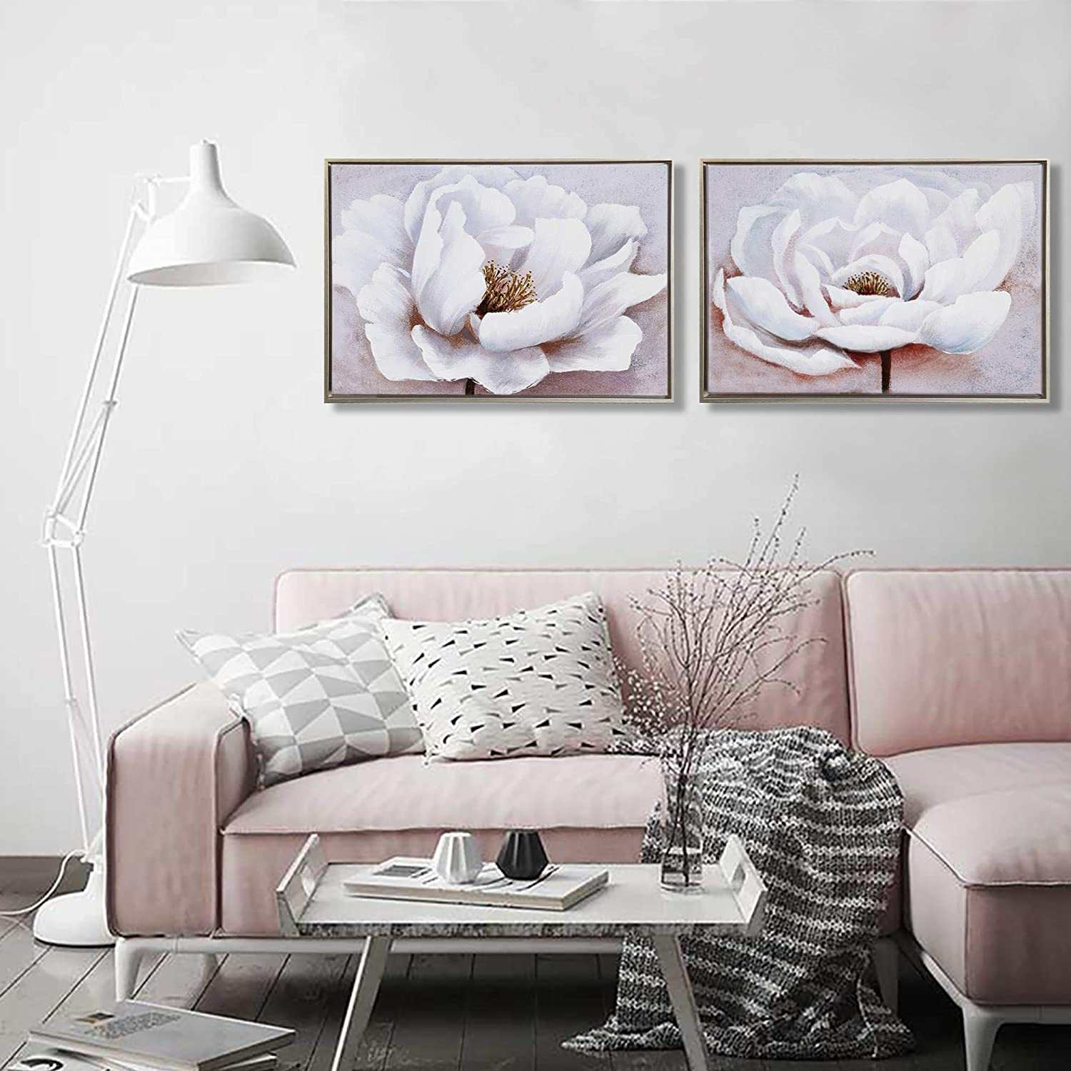 Bedroom wall decor morden framed flower painting bathroom wall art ready to hang white and pink floral 2 pcs blooming white flower home decoration for