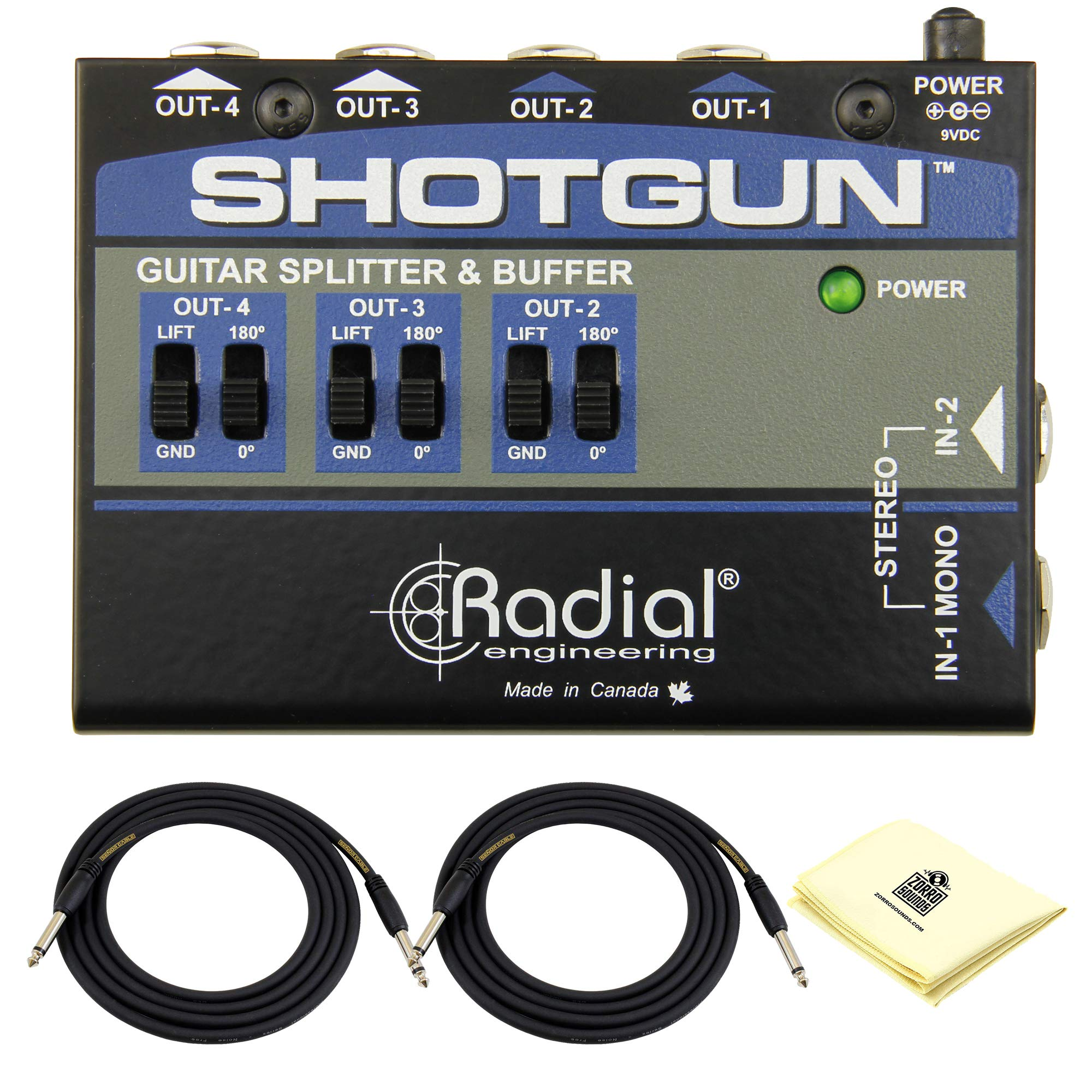 Radial Shotgun Instrument Guitar Buffer & Splitter Four Output Guitar Amp Driver with Low-noise Buffer Circuit, Isolation Transformers BUNDLE with 2 x Senor 18.6ft Instrument Cable and Zorro Cloth by Radial