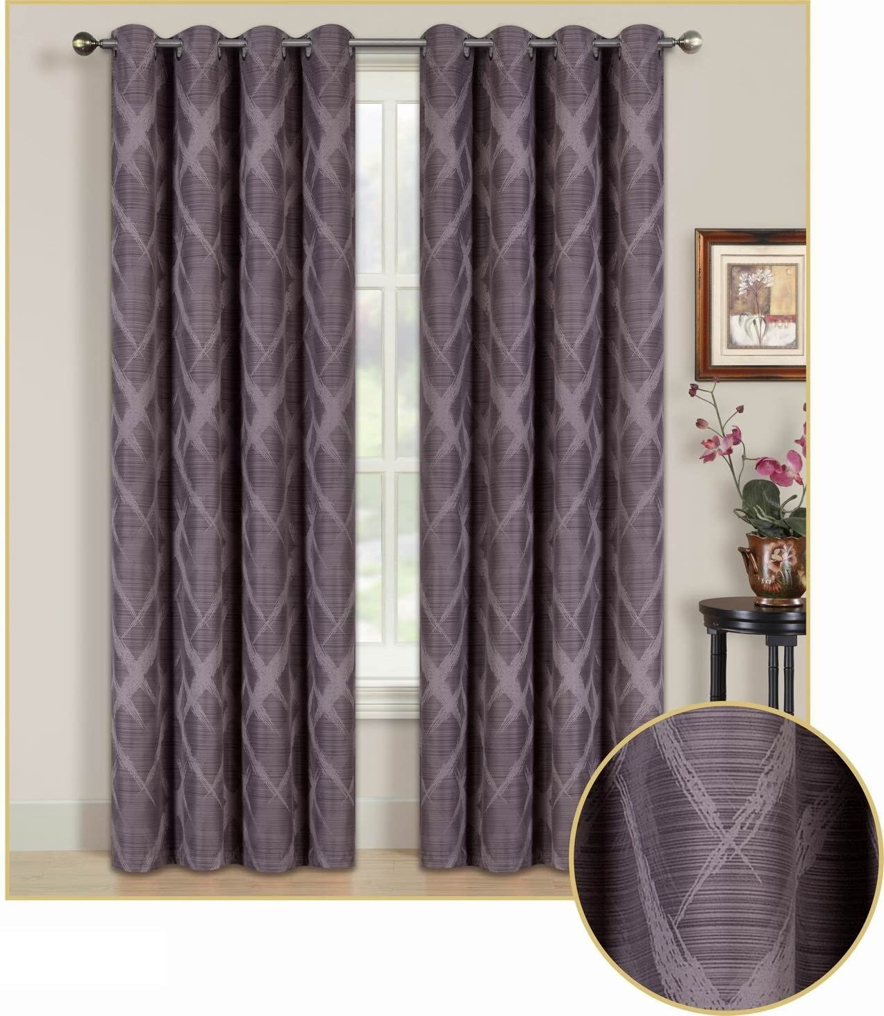 All American Collection Blackout Curtain with Brushed Diamond Pattern 84 Length Grommet Design 96 Length, Purple