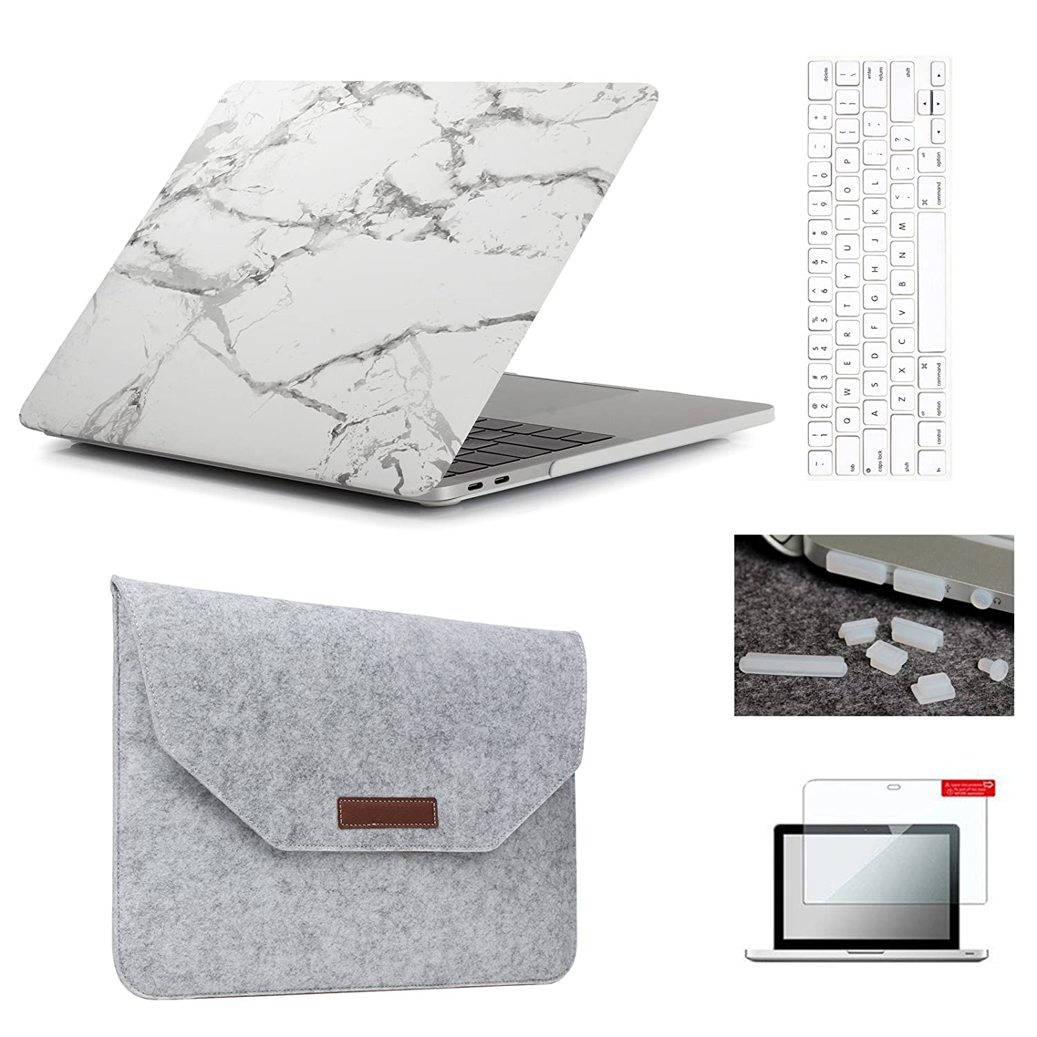 """MacBook Pro 15""""(2016 & 2017 Release)Hardshell Case & Felt Sleeve[5 in 1 Bundle] with Screen Protector,Keyboard Cover & Dust Plug for Latest MacBook Pro 15"""" A1707 w/Touch Bar Touch ID - White Marble"""
