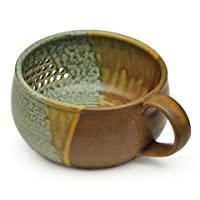 GW Pottery Handmade Stoneware Berry Bowl/Colander, Green-Rust
