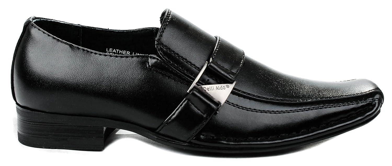 Amazon.com | Delli Aldo Boys B99003 Black Formal Squared Toe Buckle Strap Lofer Shoes-3 | Loafers