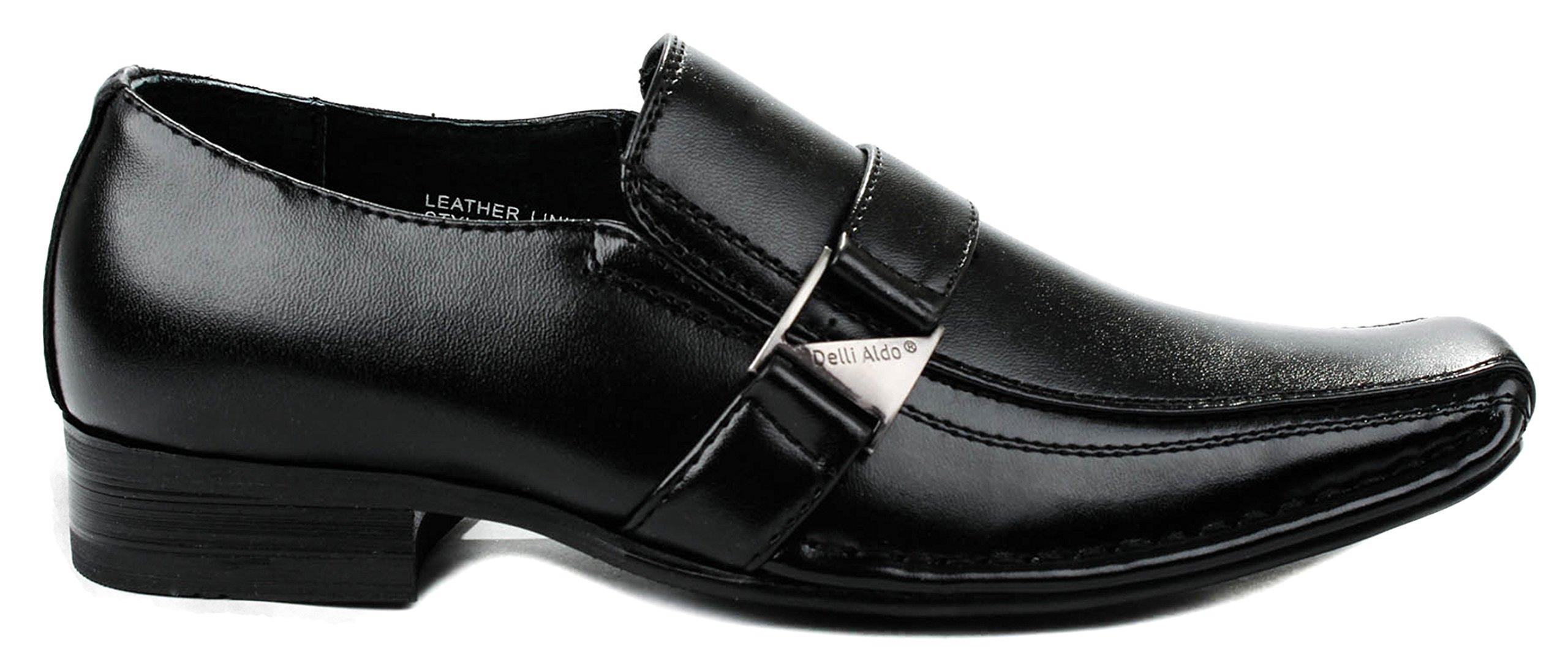 Delli Aldo Boys B99003 Black Formal Squared Toe Buckle Strap Lofer Shoes-3