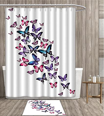 SmllmoonDecor Navy And Blush Shower Curtain Sets Bathroom Various Butterflies Flying Together Spring Summer Nature Inspired