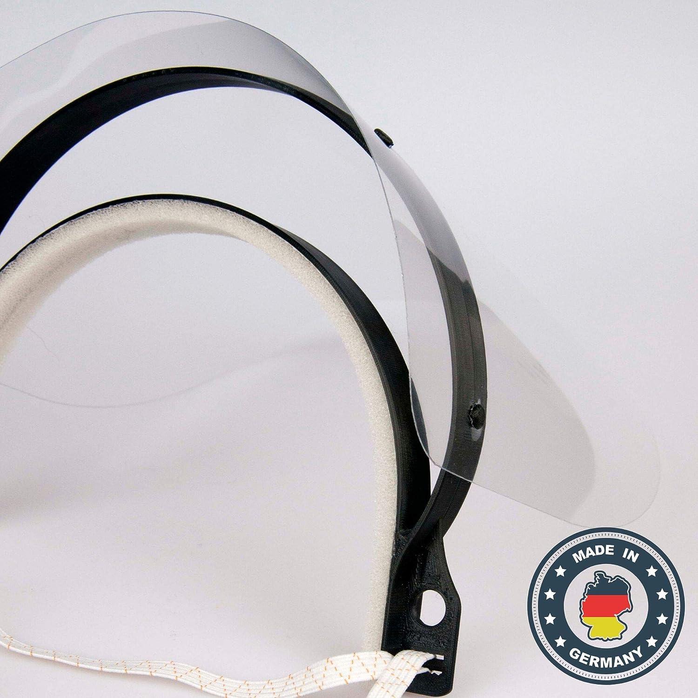 Gesichtsschutzmaske Gesichtsvisier Gesichtsschutz 1 x Halterungen mit je 3 Wechselfolien Schutzmaske aus Kunststoff