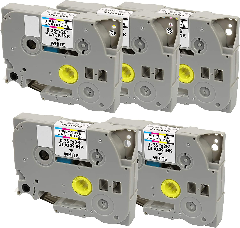 Cintas para impresoras de etiquetas 9mm x 8m Compatible TZ221 Black on White Tape Cartridge for Brother P-Touch Serial Label Printing Machines