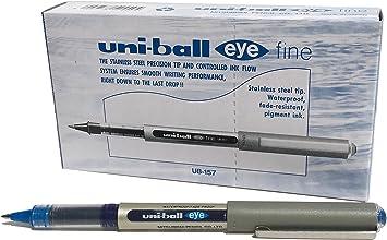 Pack of Black Uni Super Ink uni-ball UB-157 Eye Fine Rollerball Pens .7mm Nib