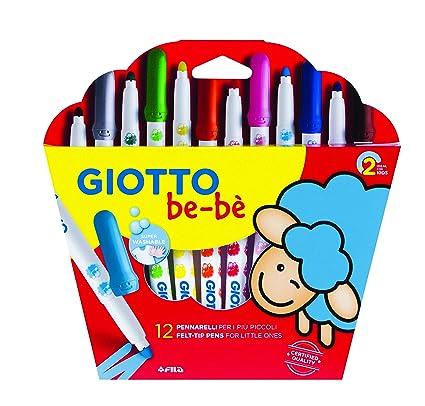 Giotto be-bè 466700 - Estuche 12 rotuladores súper lavables, punta bloqueada que no se hunde (tapón ventilado y capuchón posterior de seguridad)