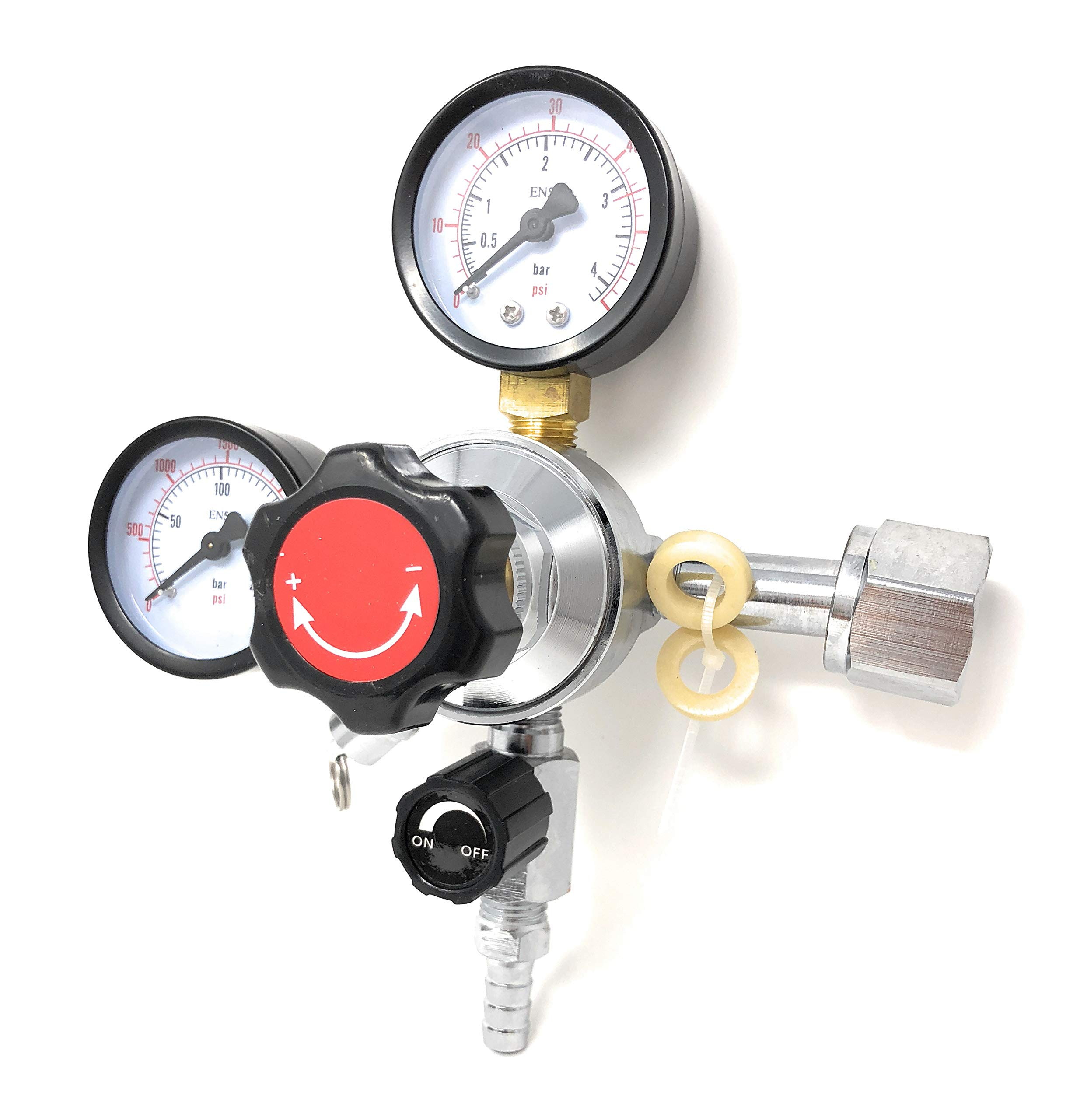 MOD Complete CO2 Beer Regulator Dual Gauge Draft Beer Dispensing Keeps gerator Heavy Duty 0 - 60 PSI - 0 to 3000 Tank Pressure CGA-320 Inlet Connection 3/8'' O.D. Outlet Feature