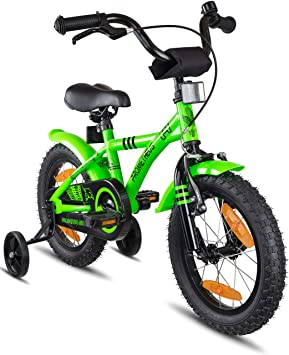Prometheus Bicicleta Infantil | 14 Pulgadas | niño y niña | Verde Negro | A Partir