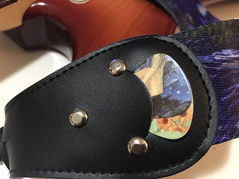 guitarra el/éctrica y ac/ústica con bolsillo para p/úas Correa de guitarra de color negro liso Correa para bajo Pack de colgador de guitarra con 2 cierres para correas y 2 p/úas /únicas