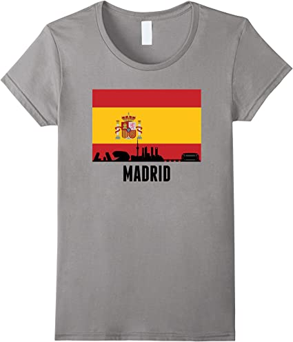 Madrid España centro de Ciudad Skyline Camiseta de bandera de España Pizarra X-Large: Amazon.es: Ropa y accesorios