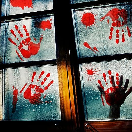 80Pcs Halloween Party Decorations Bloody Handprint Footprint Floor Clings Win...