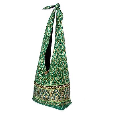 Novica Cotton shoulder bag, Blue Thai Garden