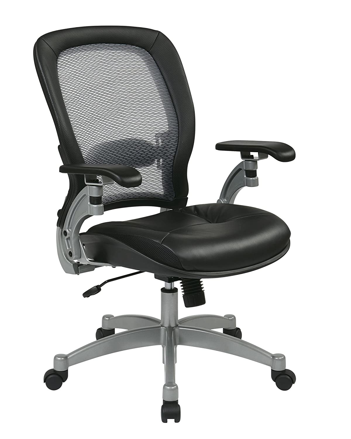Office Star Light Air Grid Chair with Leather Seat and Platinum Accents
