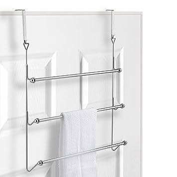 Amazon.com: MyGift Over-the-Door 3 Tier Bathroom Towel Bar Rack with ...