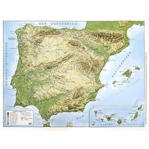 Mapa en relieve España físico: Escala 1:3.500.000: Amazon.es: All 3D Form S.L.: Libros