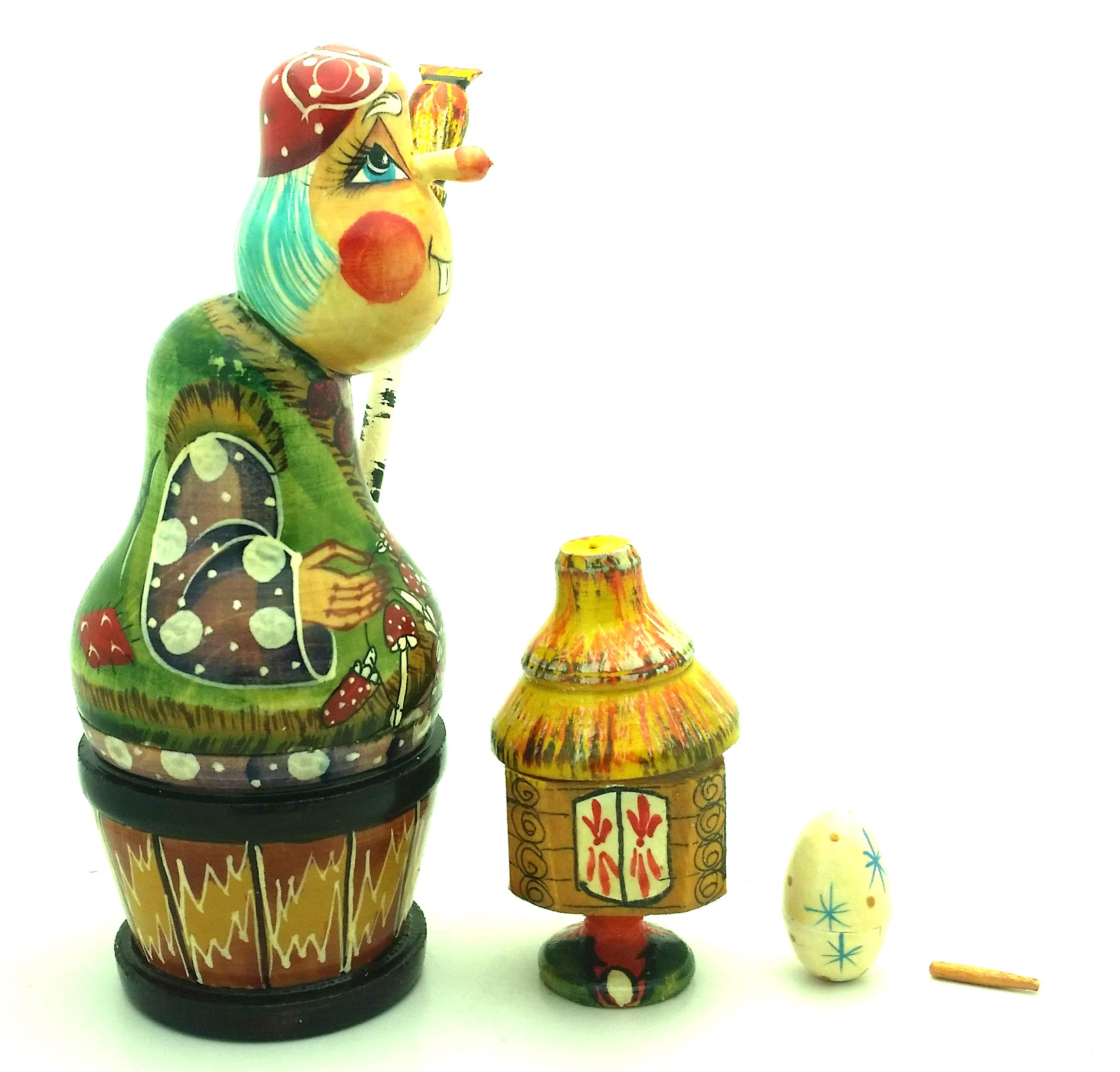 BABA YAGA Witch Russian Nesting 4 piece DOLL Set Hand Carved Hand Painted / Stacking Wooden Matryoshka Babushka doll by BuyRussianGifts (Image #3)
