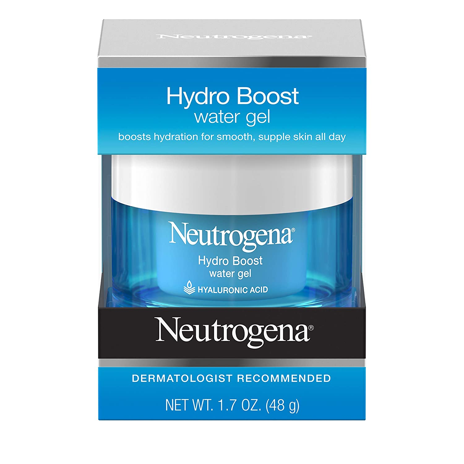 Neutrogena Hydro Boost Hyaluronic Acid Hydrating Water Face Gel Moisturizer for Dry Skin, 1.7 fl. oz (Pack of 2)