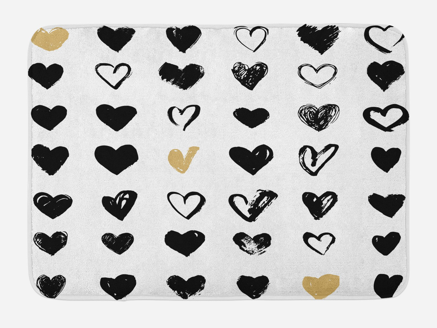 Ambesonne Love Bath Mat, Small Heart Icons Valentine's Theme Stylized Hipster Liking Spouse Couples Design, Plush Bathroom Decor Mat with Non Slip Backing, 29.5 W X 17.5 W Inches, Tan Black White