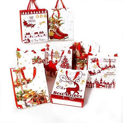 Christmas Gift Bags Bulk.6 Holiday Wine Gift Bags Merry Christmas Bulk With Handles
