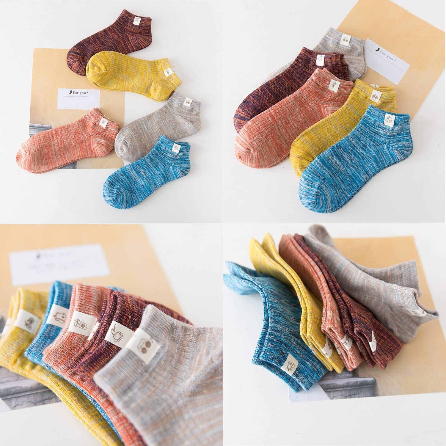 Mens Ankle Crew Socks Low Cut Knit Running Socks 5 Pairs