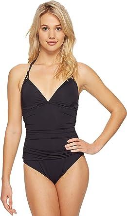 c963ec2abe3 Bleu Rod Beattie Women's Knotty But Nice Solid Halter Mio Shirred Waist One  Piece Swimsuit,