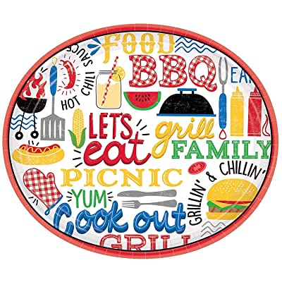"Amscan 721951 Party Supplies BBQ Picnic Oval Paper Plates, 12"", Multicolor: Toys & Games"