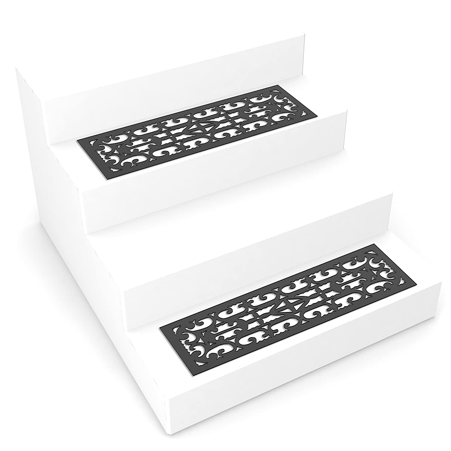Pure Garden 82 YJ440B Non Slip Stair Traction Control Grip Heavy Duty Rubber Tread Ornate Design for Indoor Outdoor Use Mat Pads Set of 2 Black