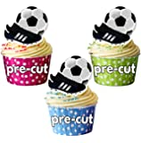 Football And Boot - Edible Cupcake Toppers/Cake Decorations (Pack of 12)