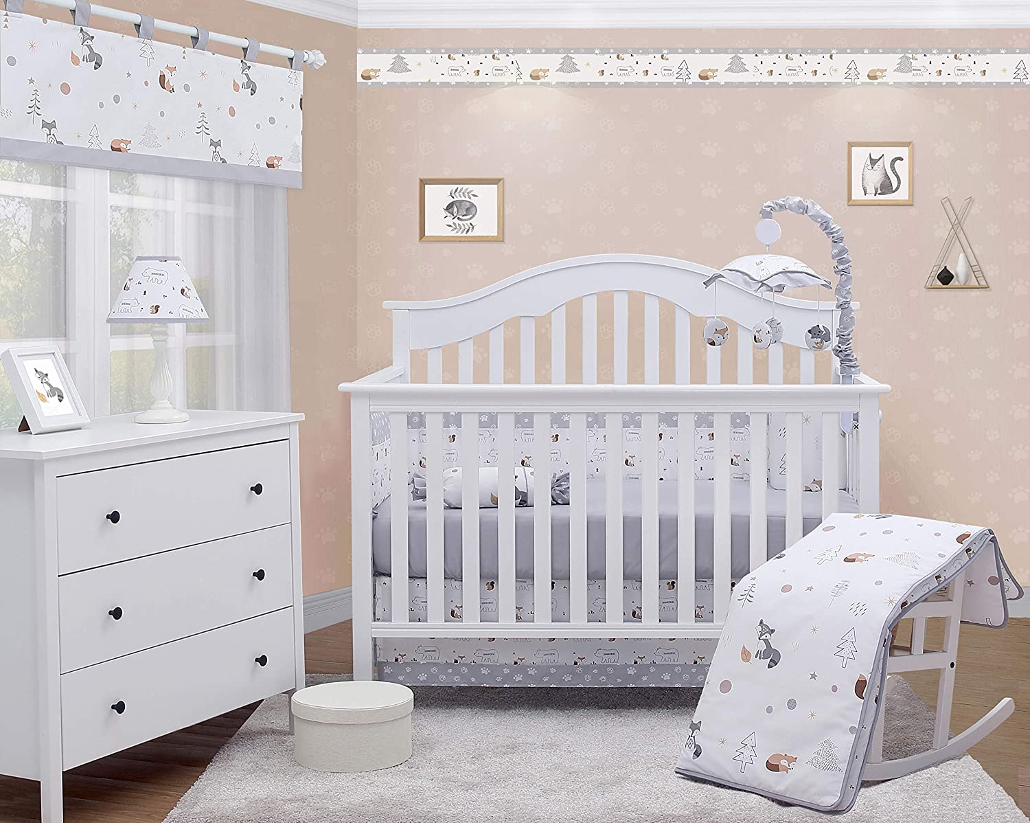OptimaBaby Woodland 6 Piece Baby Nursery Crib Bedding Set, Forest Fox, White/Gray/Yellow/Brown