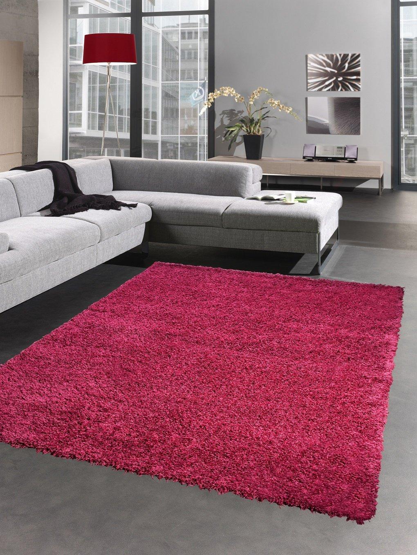 Carpetia Shaggy Teppich Hochflor Langflor Bettvorleger Wohnzimmer Teppich Läufer Uni Magenta viollett pink Größe 120x170 cm