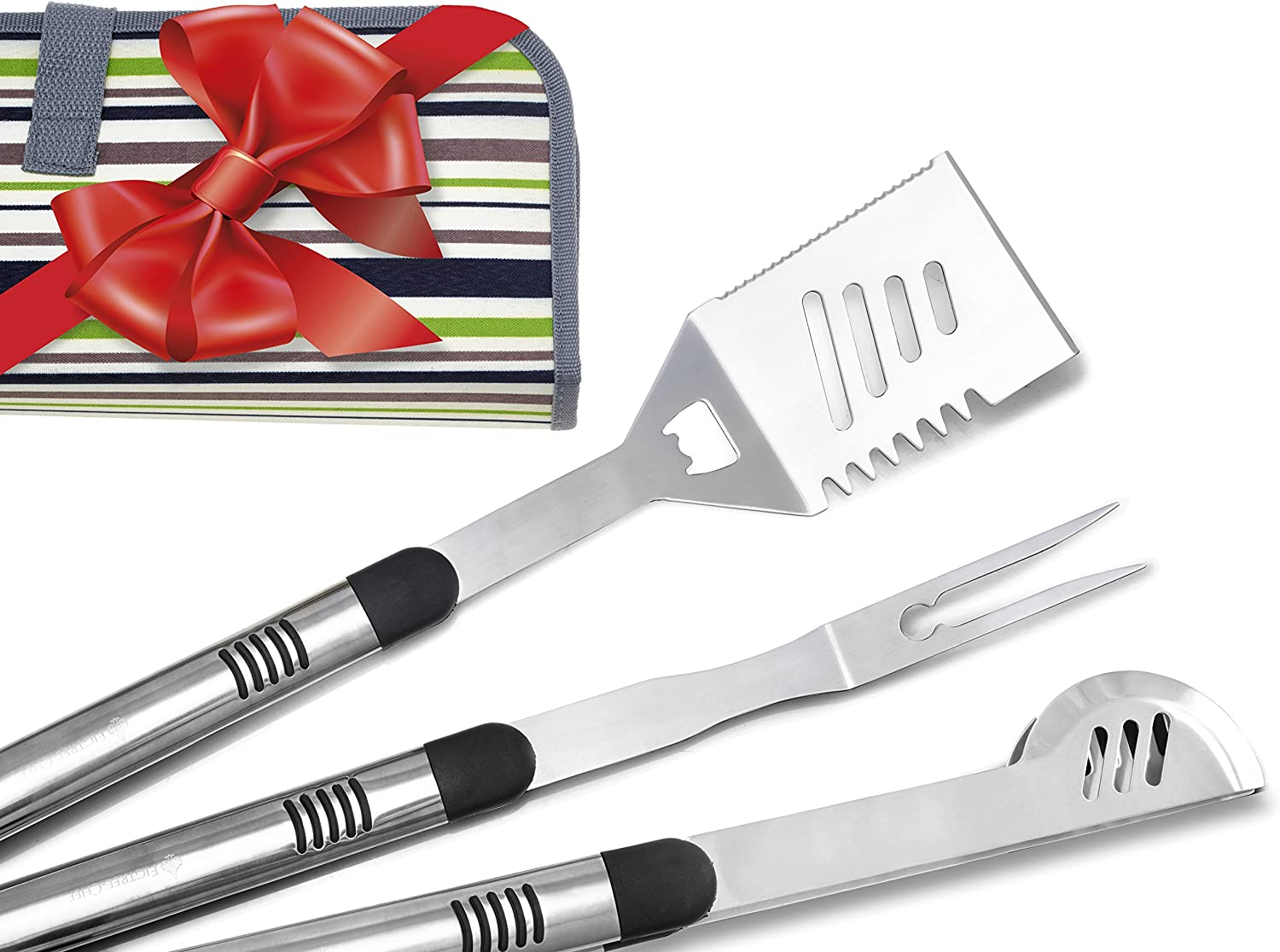Figtree-Chef Long BBQ Tools – 3 Piece Grill Set with Case – Popular Gift Idea