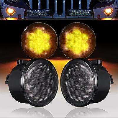 V8 GOD Jeep Front Turn Signal Lights Amber LED Smoked Lens Flasher Blinker Indicator for 2007-2020 Jeep JK Wrangler Unlimited: Automotive