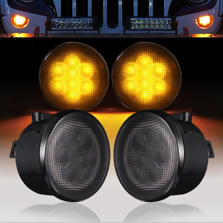 u-Box Smoked Turn Signal Front Lights Amber LED Indicator Blinker for 2007-2018 Jeep JK Wrangler