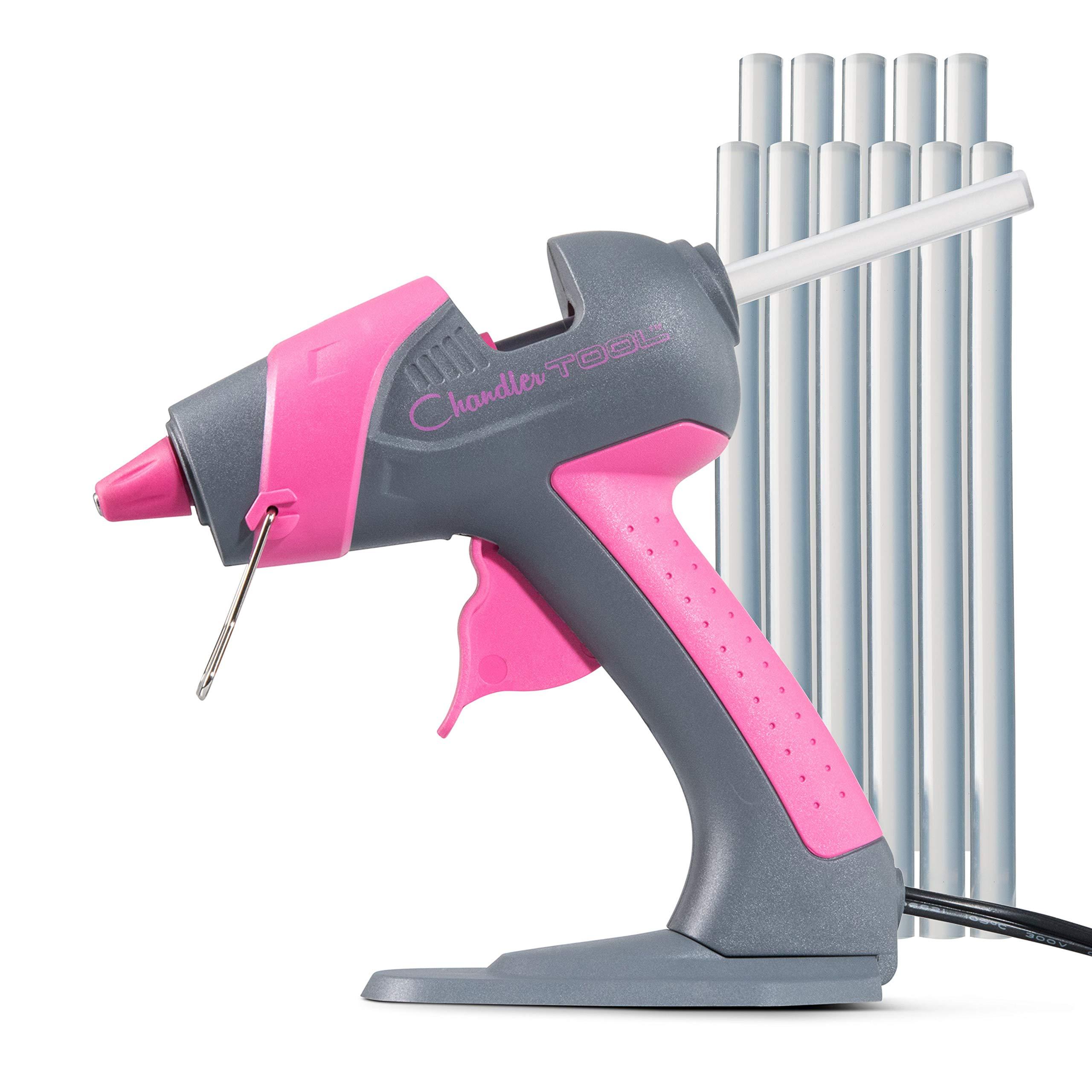 Chandler Tool Mini Glue Gun - 25 Watt - Hot Glue Sticks & Patented Base Stand Included - for Arts Crafts School Home Repair DIY (Pink)