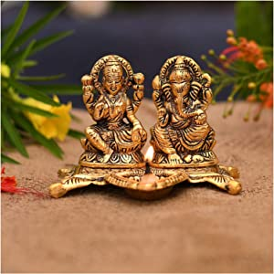 NOBILITY Laxmi Ganesha Idol Showpiece with Diya Deepak for Diwali Home Decoration