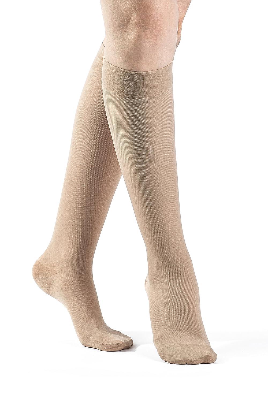 SIGVARIS Women's SELECT COMFORT 860 Closed Toe Calf High Compression Hose 20-30mmHg B0068NN0Q4 SS-Small Short|Natural