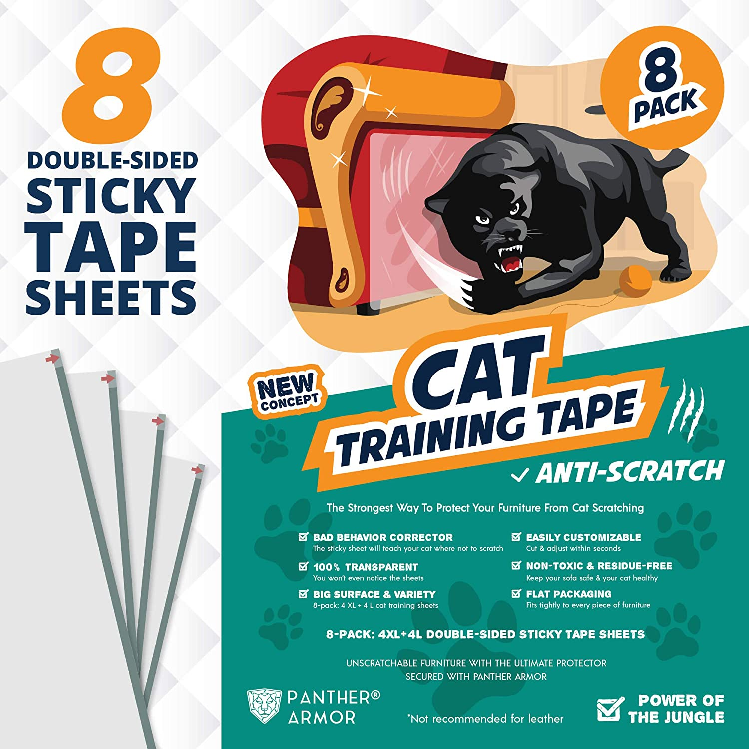 "Panther Armor Cat Scratch Deterrent Tape – 8(Eight)-Pack – Double Sided Anti Cats Scratching Sticky Tape – 4-Pack XL 16""L 12""W + 4-Pack Large 17""L 10""W Furniture Protectors – Clear Training Tape"