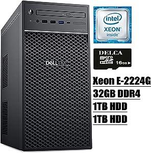 Dell PowerEdge T40 Tower Server 2020 Premium Desktop I Intel Quad-Core Xeon E-2224G 3.5GHz I 32GB DDR4 1TB HDD 1TB HDD I DVD USB-C UHD Graphics P630 No Operating System + Delca 16GB Micro SD Card