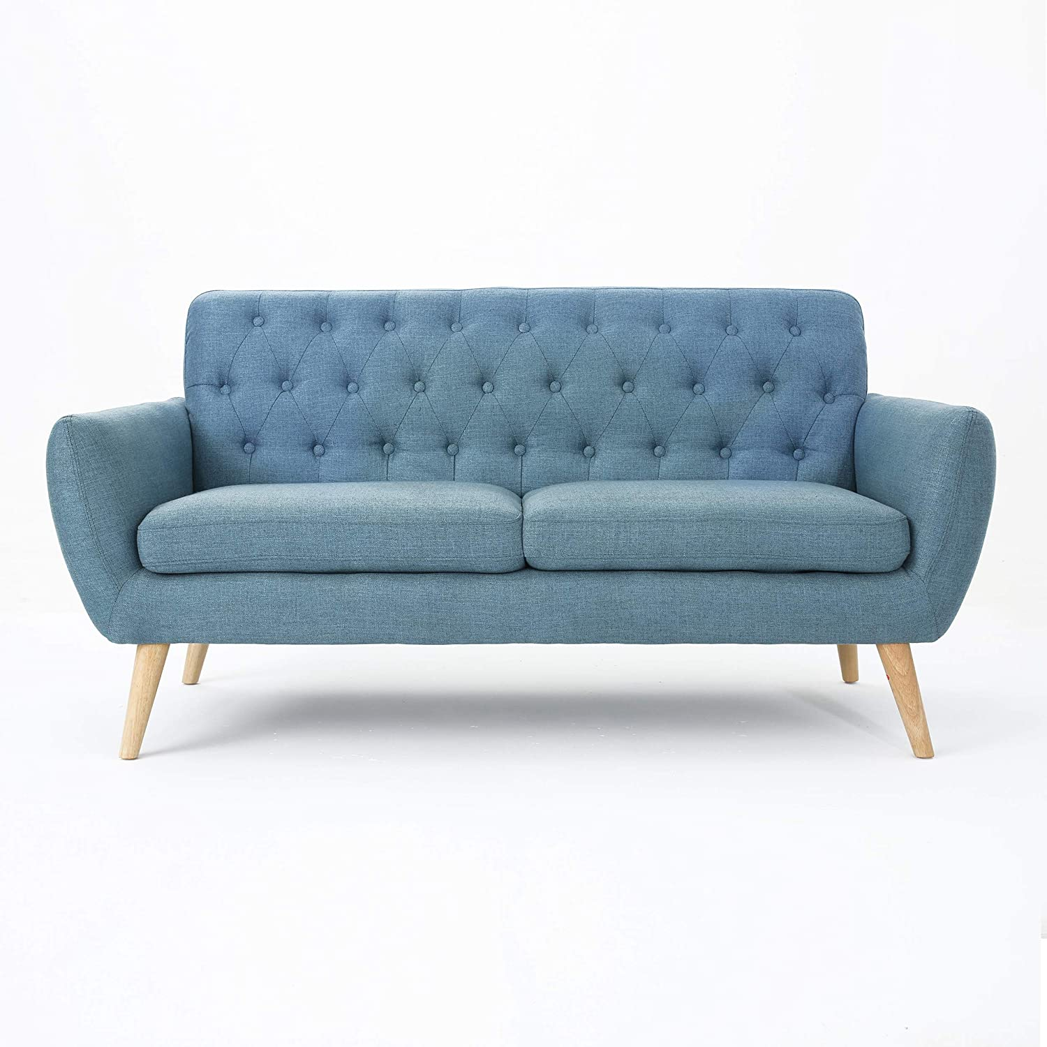 Christopher Knight Home Bernice Mid-Century Modern Tufted Fabric Sofa, Blue / Natural