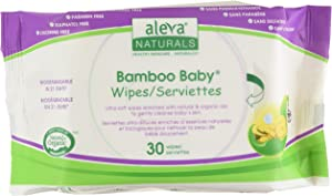 Aleva Naturals Bamboo Baby Wipes Travel, 30 Count (Pack of 12)