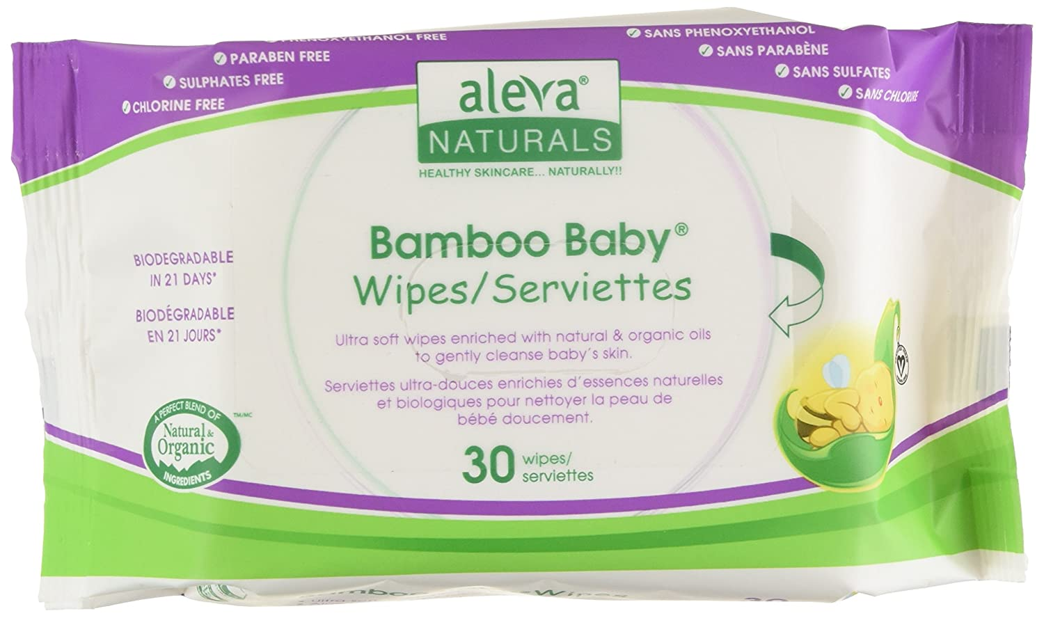 Aleva Naturals Bamboo Baby Wipes Travel, 30 Count (Pack of 12) 37941