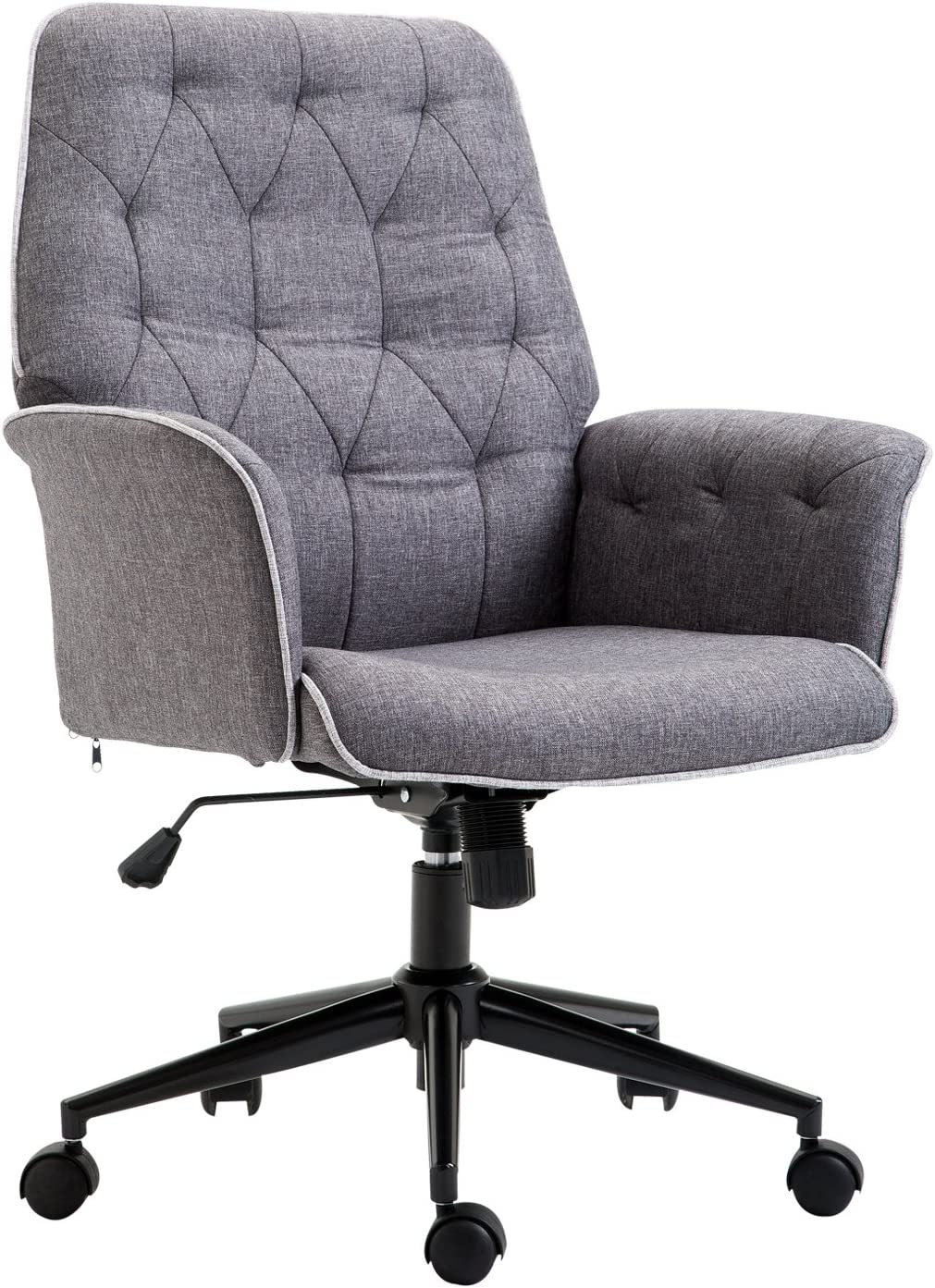 Amazon Com Homcom Vinsetto Modern Mid Back Tufted Linen Fabric Home Office Task Chair With Arms Swivel Adjustable Grey Furniture Decor