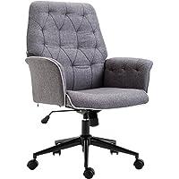 Homcom Fauteuil de Bureau capitonné Chaise de Bureau Hauteur réglable pivotant 360° Tissu Chanvre Gris chiné