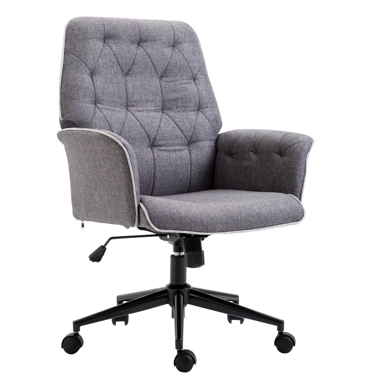 HOMCOM Adjustable Modern Linen Upholstered Office Chair with Lumbar Support and Arms by HOMCOM