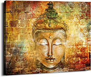 Yellow Buddha Statue Wall Art Abstract Retro Zen Posters Modern Home Decor Living Room Study Bedroom Canvas Prints Painting Lotus Murals Hang Pictures Stretched Decoration 30x40inch x1 Panel
