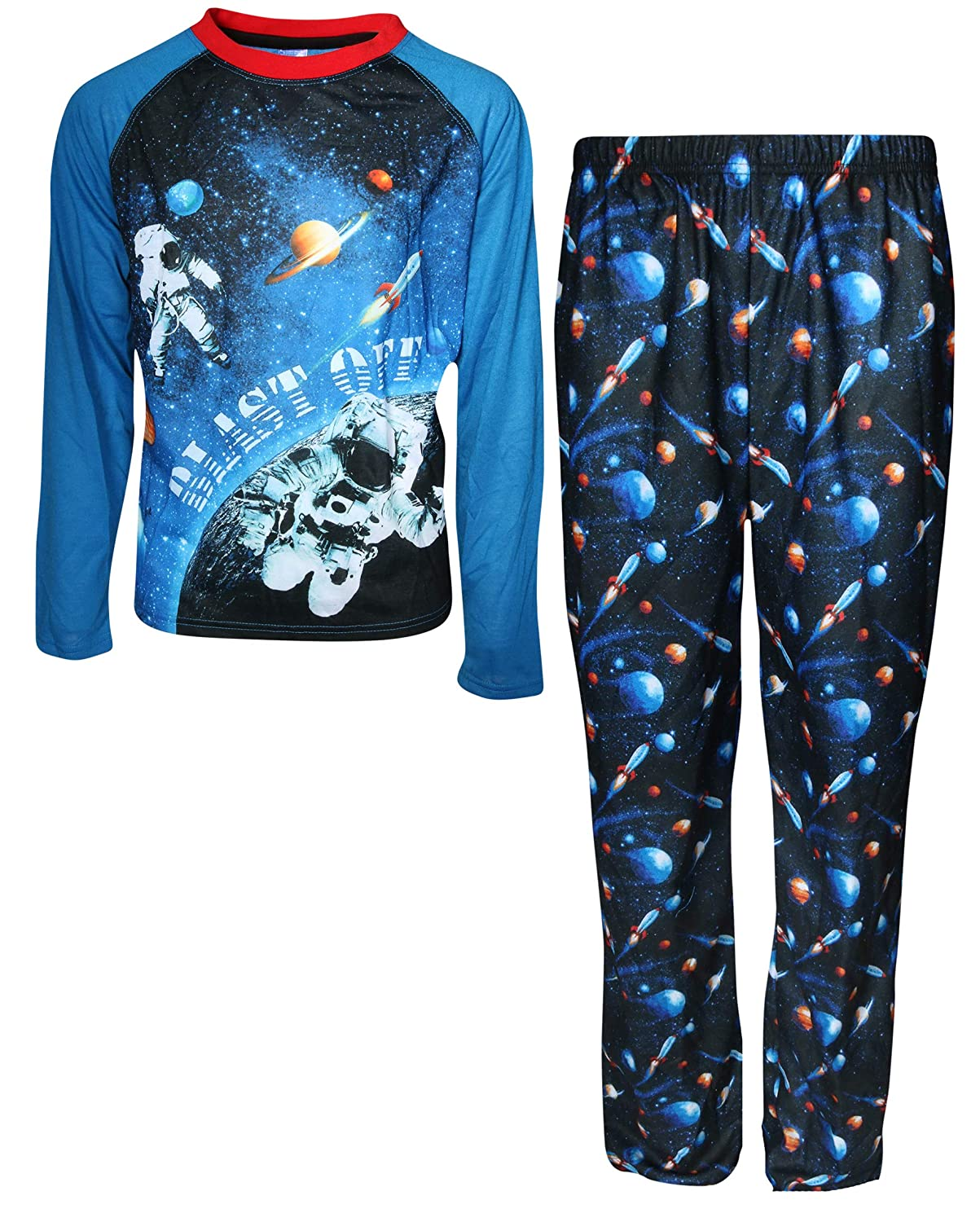 Only Boys Sleepwear Long Sleeve Top with Fleece Pajama Pants 2 Piece Set